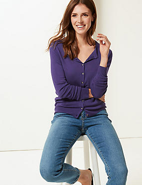 Long Sleeve Round Neck Cardigan, DARK PURPLE, catlanding
