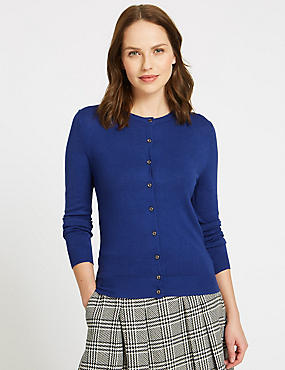 Ribbed Round Neck Cardigan, BLUE, catlanding