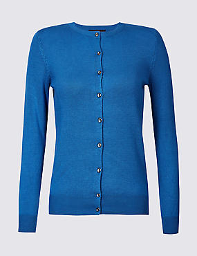 Ribbed Round Neck Cardigan, BRIGHT BLUE, catlanding