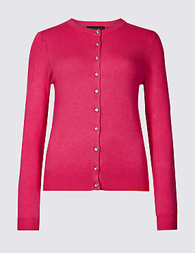 Ribbed Round Neck Cardigan, VERY PINK, catlanding