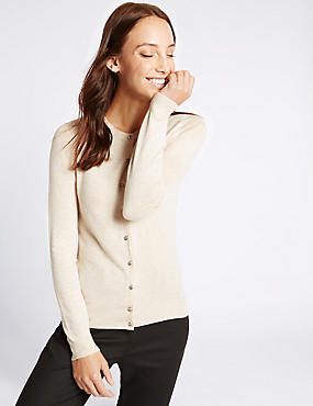 Long Sleeve Round Neck Cardigan, OATMEAL MIX, catlanding