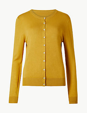 Long Sleeve Round Neck Cardigan, OCHRE, catlanding
