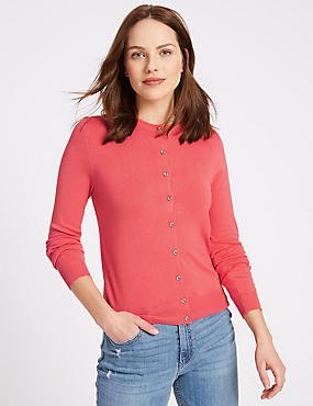 Ribbed Round Neck Cardigan, WATERMELON, catlanding