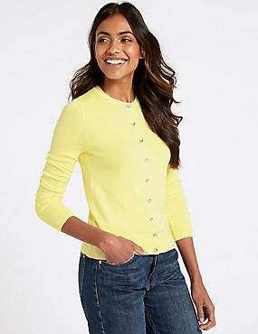 Ribbed Round Neck Cardigan, CITRUS, catlanding