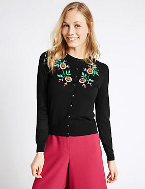 Embroidered Round Neck Cardigan