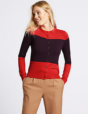 Colour Block Round Neck Cardigan