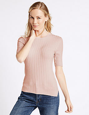 Ribbed Split Cuff Short Sleeve Jumper