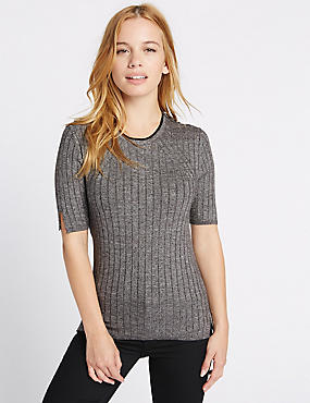 PETITE Textured Half Sleeve Jumper