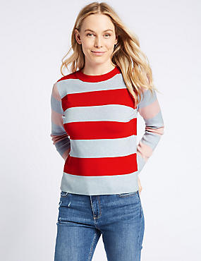 Striped Round Neck Long Sleeve Jumper, MULTI, catlanding