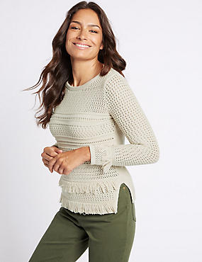 Pure Cotton Rustic Fringe Round Neck Jumper