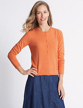 Cashmilon™ Round Neck Cardigan, SOFT ORANGE, catlanding
