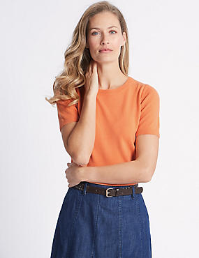 Cashmilon™ Round Neck Short Sleeve Jumper, SOFT ORANGE, catlanding