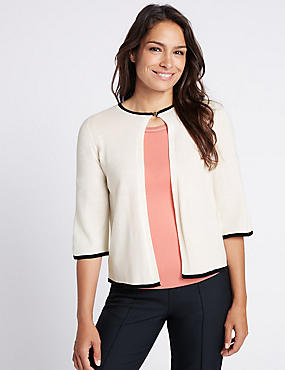 Tipped 3/4 Sleeve Cardigan