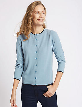 Tipped Round Neck Cardigan, SOFT BLUE, catlanding