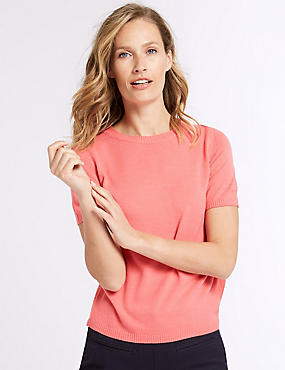 Round Neck Short Sleeve Jumper, HOT PINK, catlanding