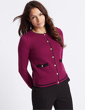 Lambswool Blend Contrasting Edge Cardigan