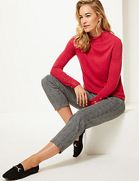 Textured Turtle Neck Jumper , RED, catlanding