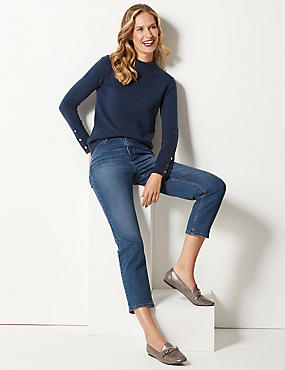 Textured Turtle Neck Jumper , NAVY, catlanding