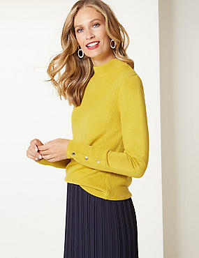 Textured Turtle Neck Jumper , WINTER LIME, catlanding