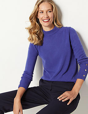 Textured Turtle Neck Jumper , INDIGO, catlanding