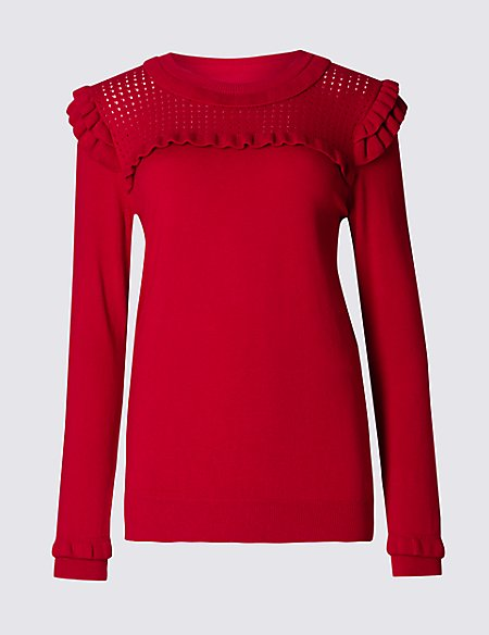 Ruffle Shoulder Jumper