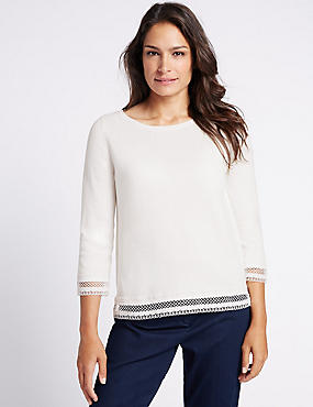 Pure Cotton Lace Trim 3/4 Sleeve Jumper