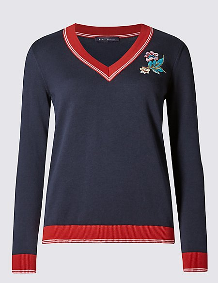 Pure Cotton Floral Embroidered Jumper