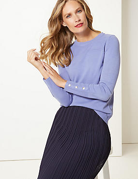 Ripple Textured Yoke Round Neck Jumper, SOFT VIOLET, catlanding