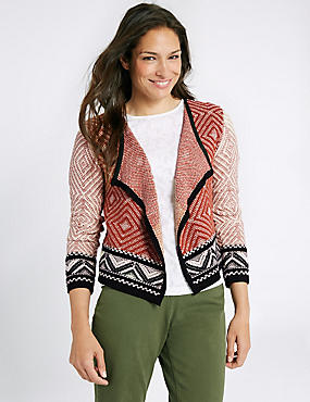 Cotton Rich Textured Open Front Cardigan