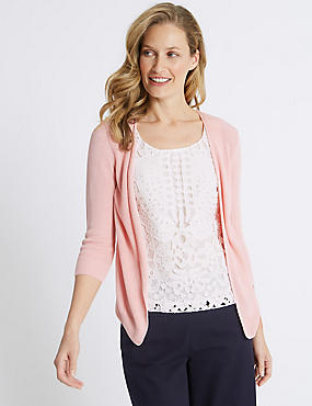 Lace Insert Scoop Neck 3/4 Sleeve Jumper, BLOSSOM, catlanding