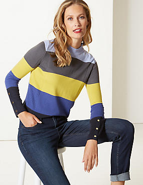 Colour Block Funnel Neck Jumper, INDIGO MIX, catlanding