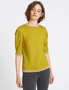 Metallic Trim Round Neck Prawn Sleeve Jumper