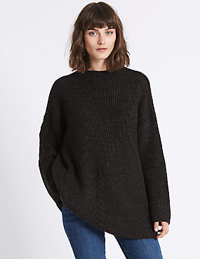 Cable Knit Longline Round Neck Jumper