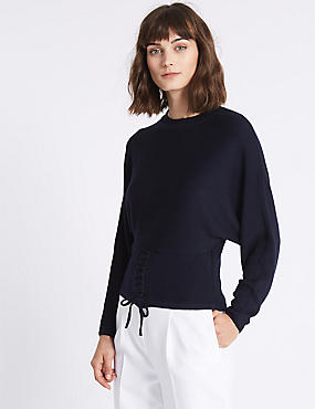 Tie Detail Round Neck Jumper
