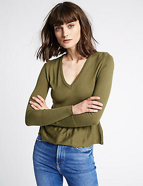 Cotton Blend Textured V-Neck Peplum Jumper, KHAKI/OLIVE, catlanding