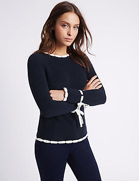 Pure Cotton Contrasting Edge Jumper