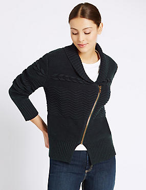 Collared Neck Cable Knitted Cardigan