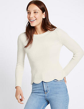 Pure Cotton Scallop Hem Jumper