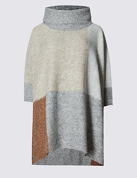 Patchwork Poncho Polo Neck Jumper