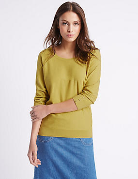Pure Cotton Scoop Neck 3/4 Sleeve Jumper