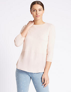 Pure Cotton Round Neck 3/4 Sleeve Jumper