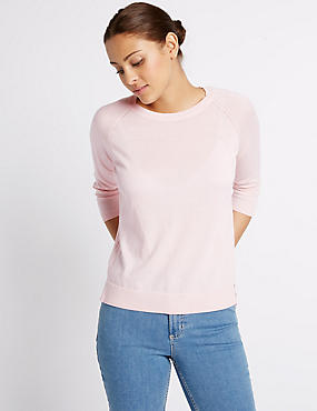 Pure Cotton Ribbed Round Neck Jumper