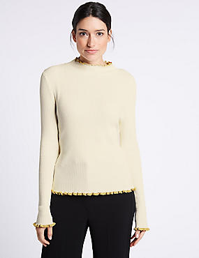 Contrasting Edge Roll Neck Jumper