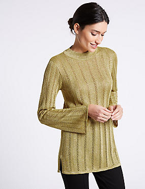 Textured Turtle Neck Longline Jumper