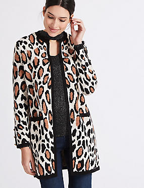 Animal Print Open Front Round Neck Cardigan