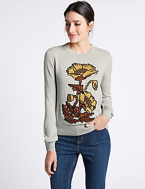 Pure Cotton Embellished Round Neck Jumper