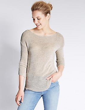 Slash Neck Tailored Fit Slub Jumper
