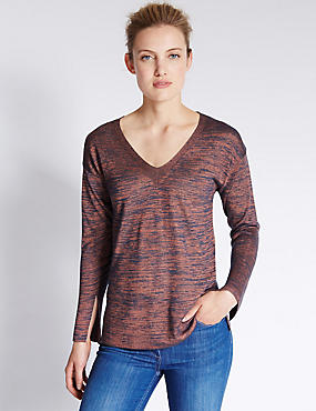 V-Neck Multi Shine Loose Fit Jumper