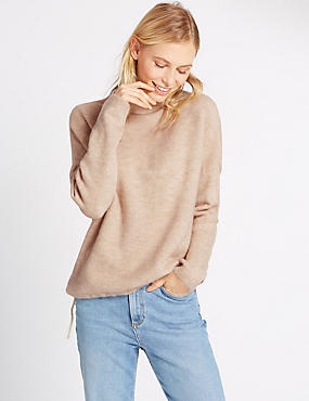 Funnel Neck Jumper with Drawstring