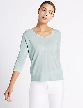 Window Back V-Neck 3/4 Sleeve Jumper
